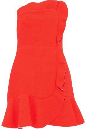SANDRO Strapless ruffled cloqué mini dress