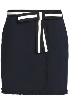 RAOUL Ruffled color-block crepe de chine mini skirt