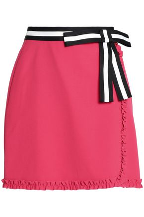 RAOUL Ruffled color-block crepe de chine mini skirt