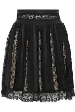 PIERRE BALMAIN Paneled lace, washed-satin and crepe mini skirt