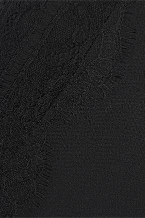 PIERRE BALMAIN Lace-trimmed cady mini skirt