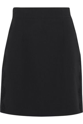 PIERRE BALMAIN Lace-trimmed cady mini skirt