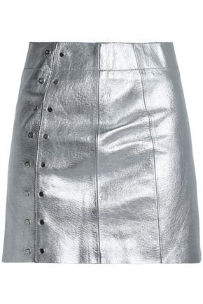 VEDA Studded metallic leather mini skirt
