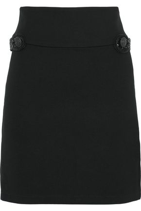 PIERRE BALMAIN Embellished stretch-knit mini skirt