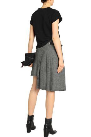 R13 Asymmetric houndstooth wool wrap skirt