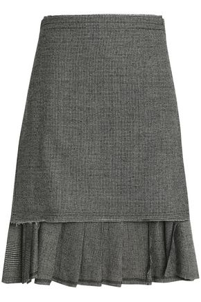 R13 Asymmetric houndstooth wool wrap skirt