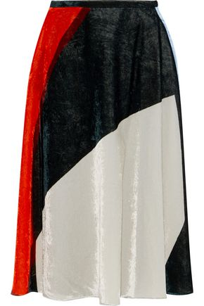 CEDRIC CHARLIER Pleated color-block crushed-velvet skirt