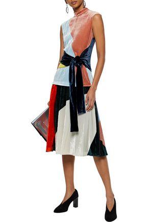 CEDRIC CHARLIER Pleated color-block crushed-velvet skirt