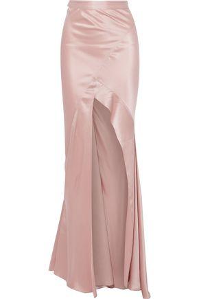 MICHELLE MASON Split-front silk-satin maxi skirt