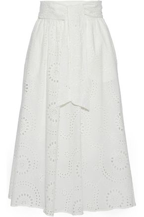 IRIS & INK Mel gathered cotton-blend poplin midi skirt