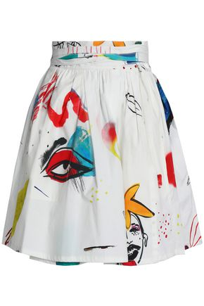 MARC JACOBS Printed srtetch-cotton-poplin mini skirt
