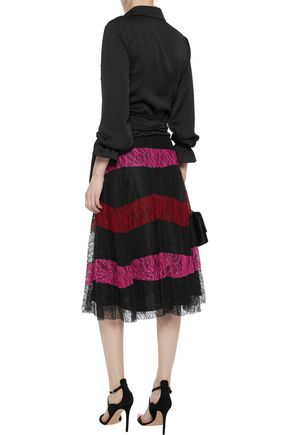 SACHIN & BABI Pleated striped corded lace skirt