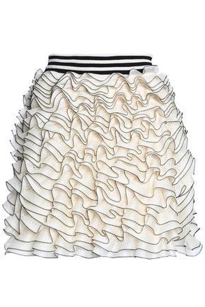 ALEXANDER MCQUEEN Ruffled crochet-knit mini skirt