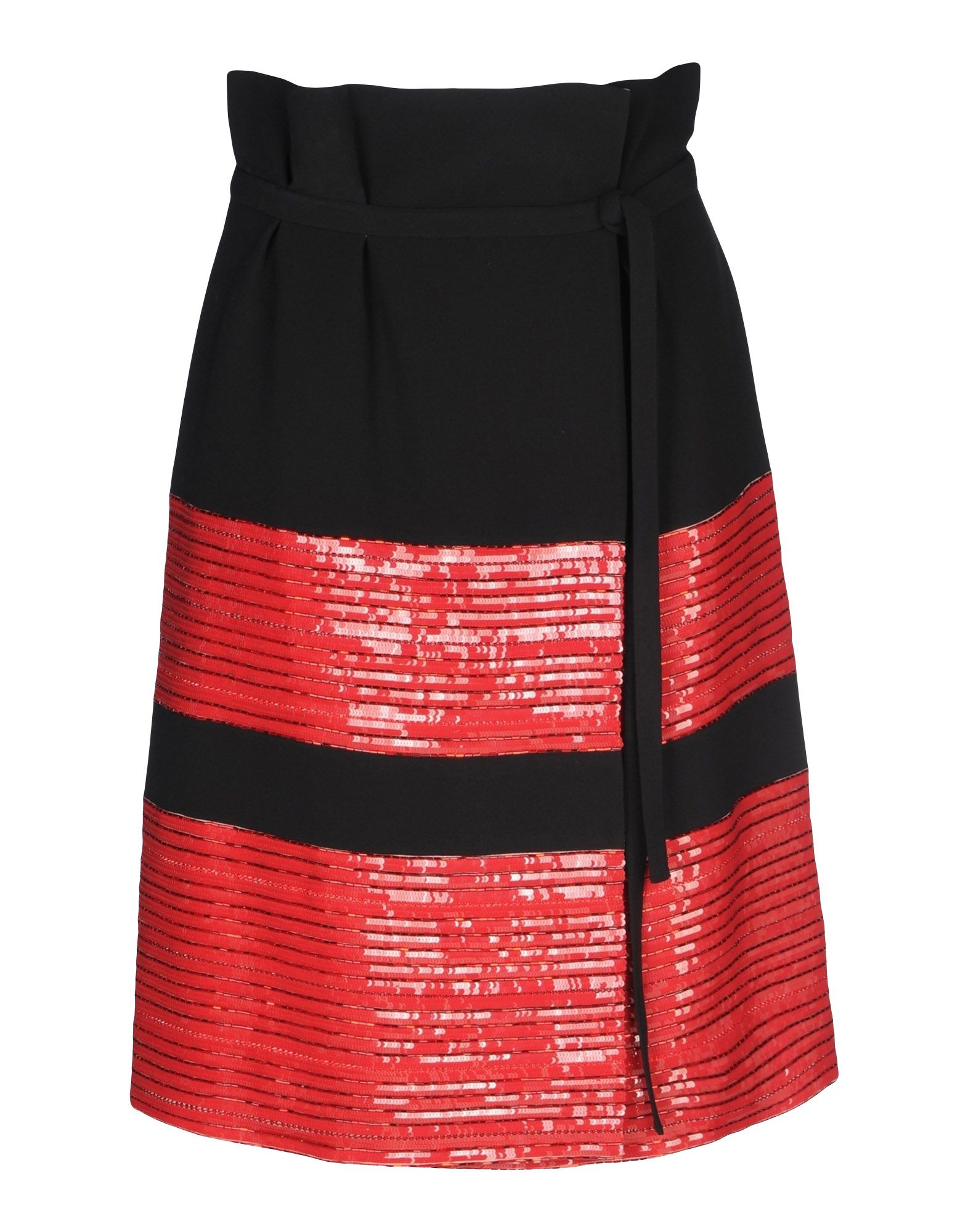 《セール開催中》GIORGIO ARMANI レディース ひざ丈スカート ブラック 40 シルク 100% / ポリエステル / ガラス / クリスタル