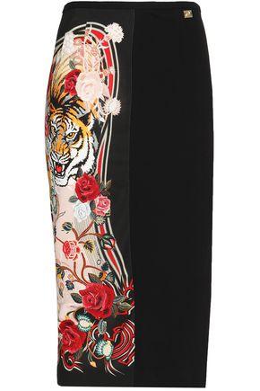 CLASS ROBERTO CAVALLI Printed cady pencil skirt