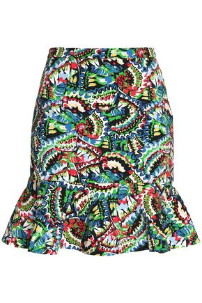 SALONI Ruffled printed cady mini skirt