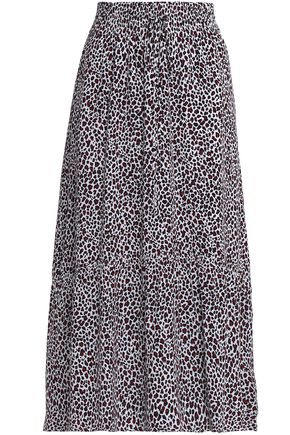 A.L.C. Pleated leopard-print silk crepe de chine midi skirt