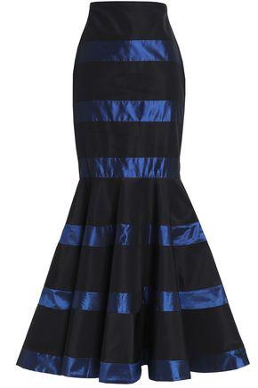 JOHANNA ORTIZ Fluted striped silk-satin maxi skirt