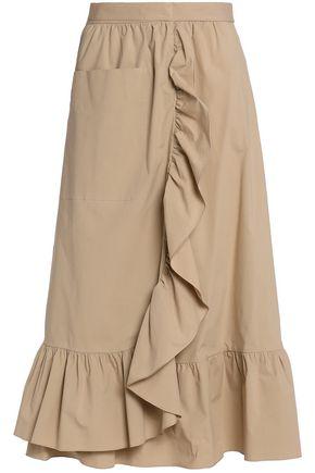 BOUTIQUE MOSCHINO Wrap-effect ruffled cotton-blend poplin midi skirt