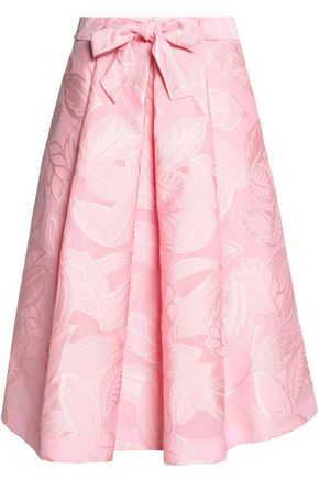 BOUTIQUE MOSCHINO Bow-detailed pleated jacquard skirt
