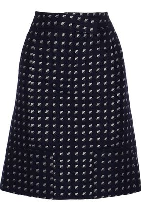 THOM BROWNE Wool and silk-blend jacquard skirt