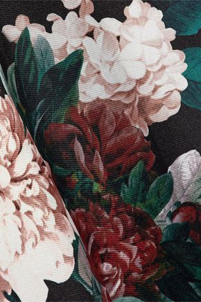 SACHIN & BABI Pleated floral-print duchesse satin-twill maxi skirt