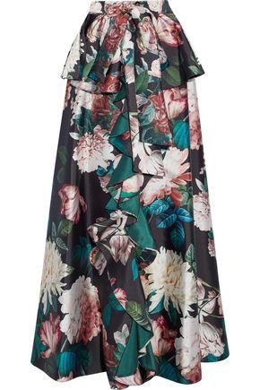 SACHIN & BABI Shruti ruffled floral-print duchesse satin-twill maxi skirt