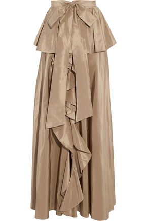 SACHIN & BABI Agra ruffled silk-taffeta peplum maxi skirt