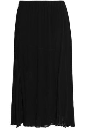 DKNY Pleated crepe de chine midi skirt