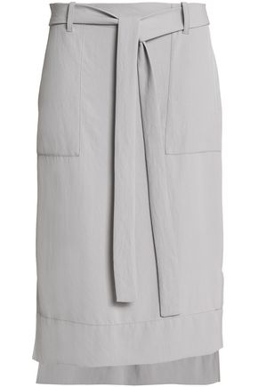 DKNY Belted twill skirt