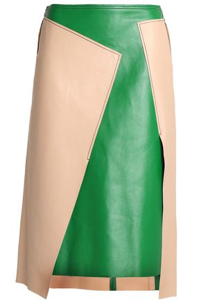 DKNY Asymmetric two-tone leather skirt