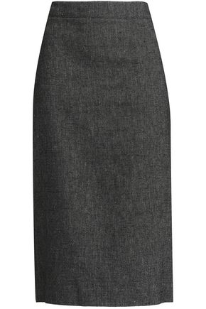 DKNY Paneled linen pencil skirt