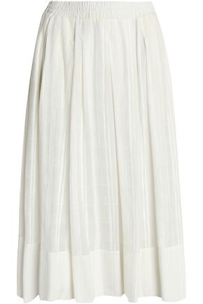DKNY Pleated embroidered cotton-mousseline midi skirt