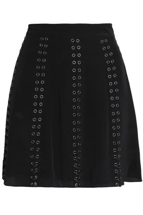 HAUTE HIPPIE Eyelet-embellished silk-satin mini skirt