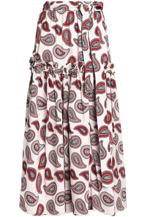 DODO BAR OR Pleated printed silk crepe de chine maxi skirt