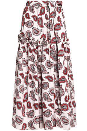 DODO BAR OR Pleated printed silk crepe de chine maxi skirt