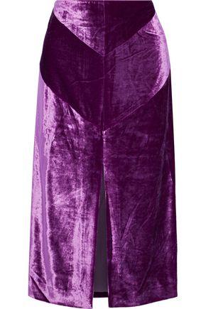NINA RICCI Split-front velvet skirt