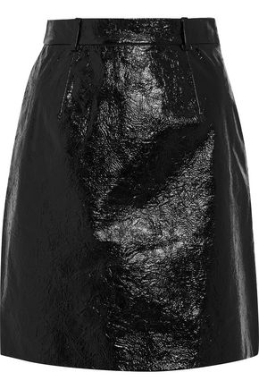 CARVEN Cracked glossed-leather mini skirt