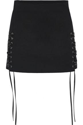 HELMUT LANG Lace-up cotton-blend mini skirt