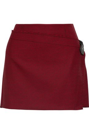 HELMUT LANG Buckled wrap-effect houndstooth wool-blend mini skirt