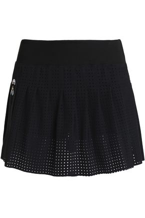 FENDI Pleated laser-cut stretch-jersey mini skirt