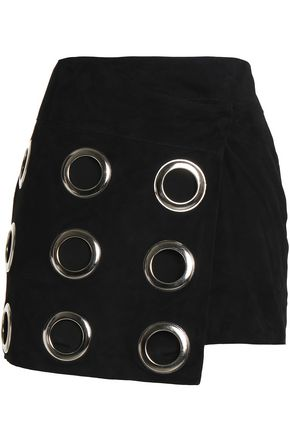 DODO BAR OR Eyelet embellished asymmetric leather mini skirt