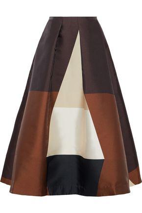CO Pleated color-block duchesse-satin midi skirt
