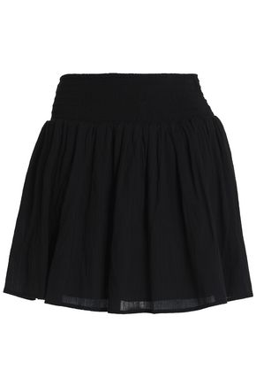 JAMES PERSE Smocked crinkled cotton-gauze mini skirt