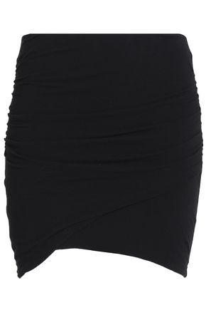 JAMES PERSE Ruched cotton-blend jersey mini skirt
