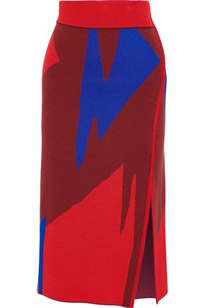 PROENZA SCHOULER Color-block jacquard-knit midi skirt