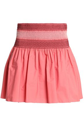 SEE BY CHLOÉ Smocked embroidered cotton-poplin mini skirt