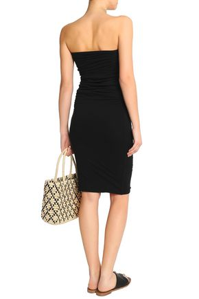 JAMES PERSE Strapless ruched cotton-blend jersey dress