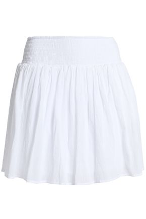 JAMES PERSE Shirred cotton-gauze mini skirt