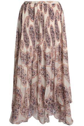SEE BY CHLOÉ Cutout printed plissé-chiffon maxi skirt